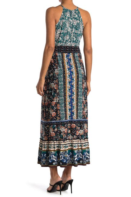 Image of London Times Floral Patchwork Halter Neck Maxi Dress