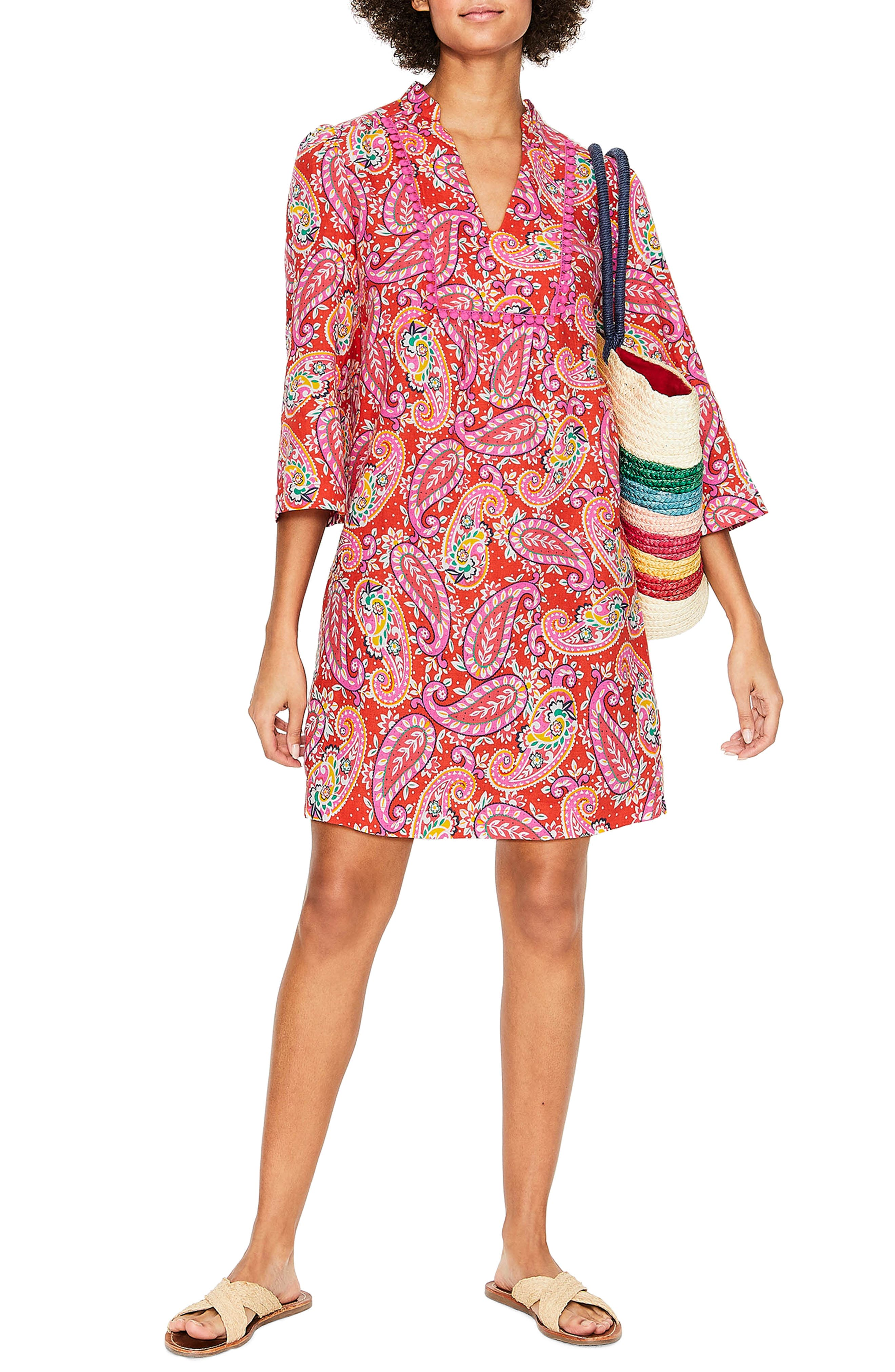 Petite Boden Evangeline Paisley Linen Tunic Dress, Red