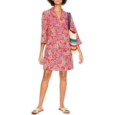 Petite Boden Evangeline Paisley Linen Tunic Dress, Red