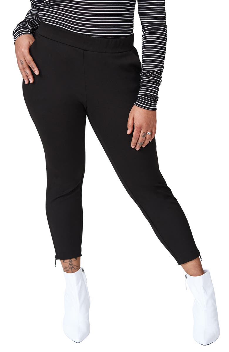 UNIVERSAL STANDARD Moro Ponte Skinny Pants, Main, color, BLACK