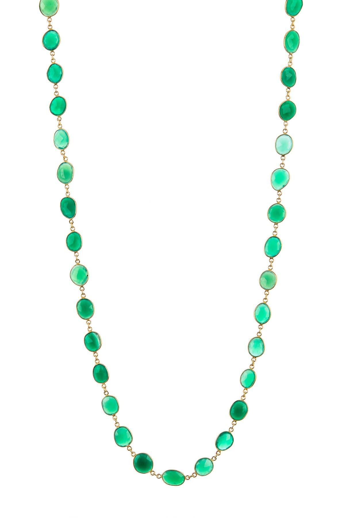 Image of Forever Creations USA Inc. 18K Gold Vermeil Emerald Long Necklace