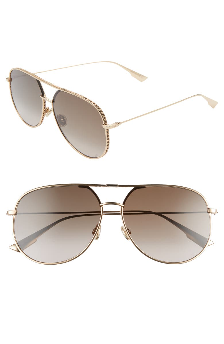 DIOR 60mm Aviator Sunglasses, Main, color, ROSE GOLD/ BLACK BROWN GREEN