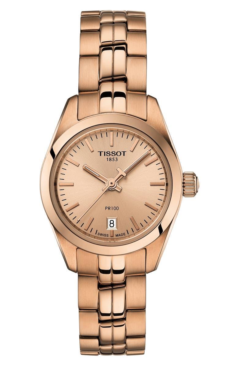 TISSOT PR 100 Lady Small Bracelet Watch, 25mm, Main, color, ROSE GOLD
