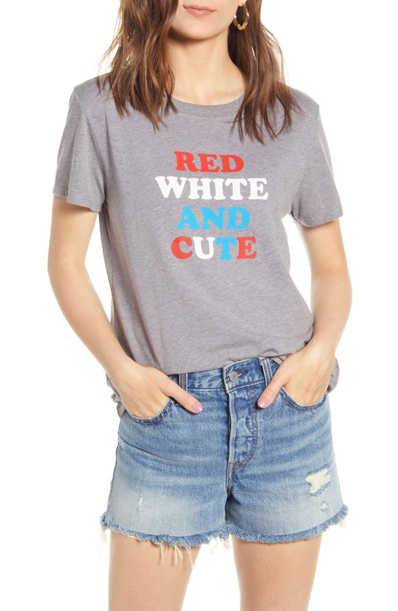 SUB_URBAN RIOT Red, White & Cute Graphic Tee, Main, color, HEATHER GREY