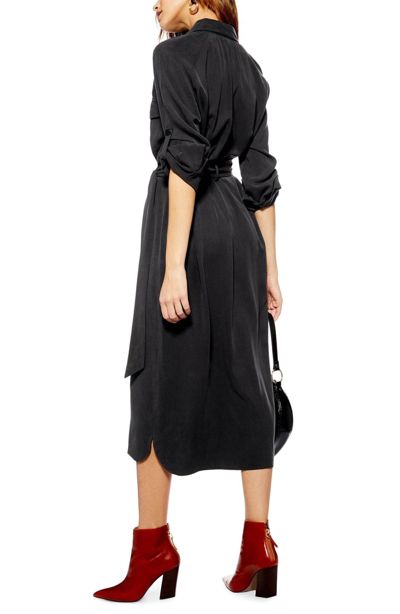 ,                             Utility Midi Shirtdress,                             Alternate thumbnail 2, color,                             WASHED BLACK