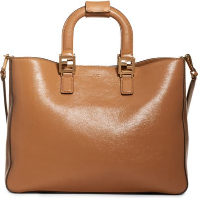 Fendi Medium Glacier Top Handle Leather Tote - Brown