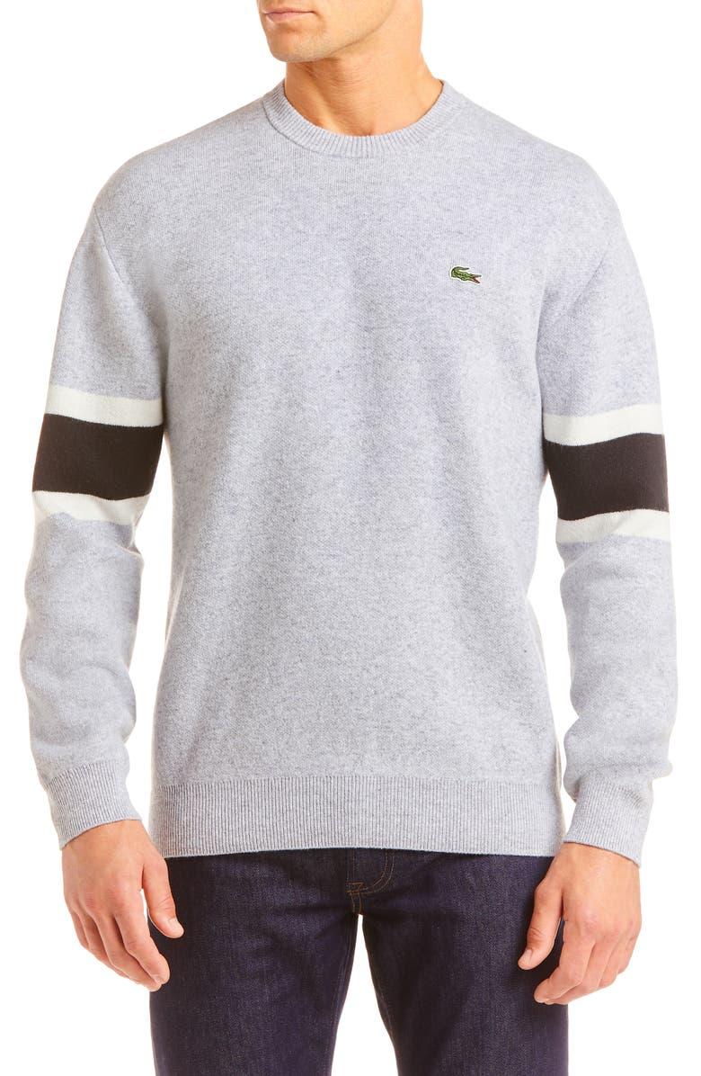 LACOSTE Oversize Crewneck Wool Blend Sweater, Main, color, SILVER CHINE BLACK FLOUR