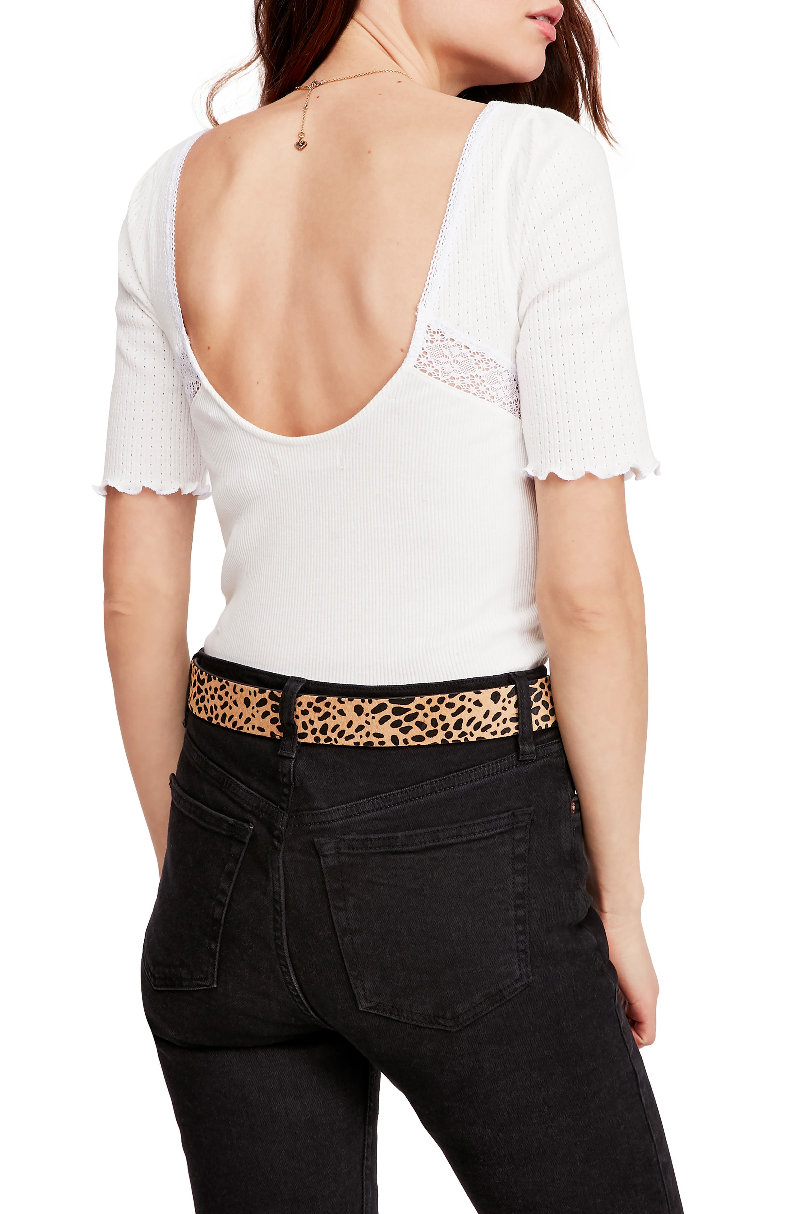Free People We The Free Margaux lace v-neck ribbed top Size XS Ex-Sample Wine