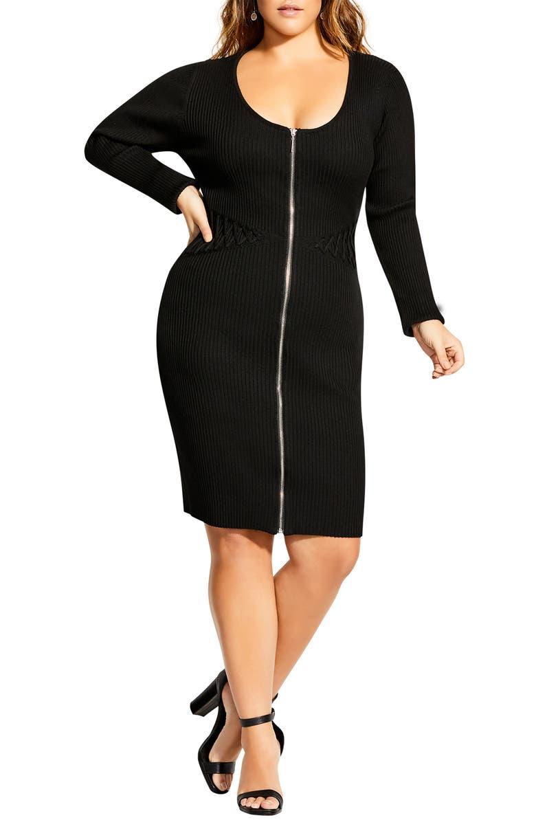 CITY CHIC Corset Sweater Dress, Main, color, BLACK