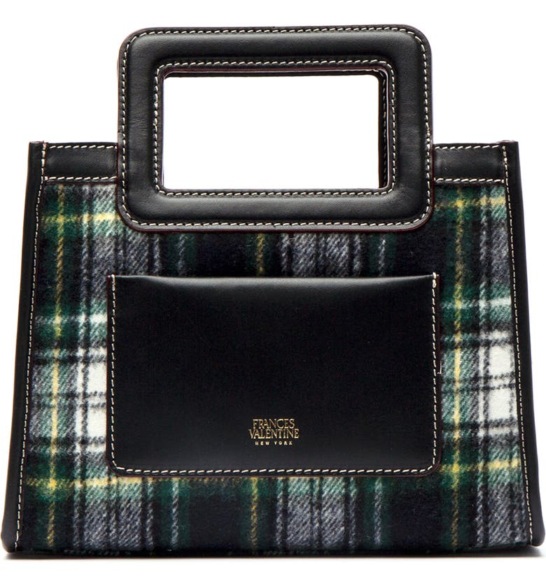 FRANCES VALENTINE Small Plaid Wool Tote, Main, color, BLACK WATCH