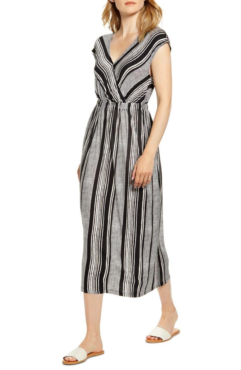 BOBEAU Danielle Variegated Stripe Jersey Midi Dress, Main, color, BLACK