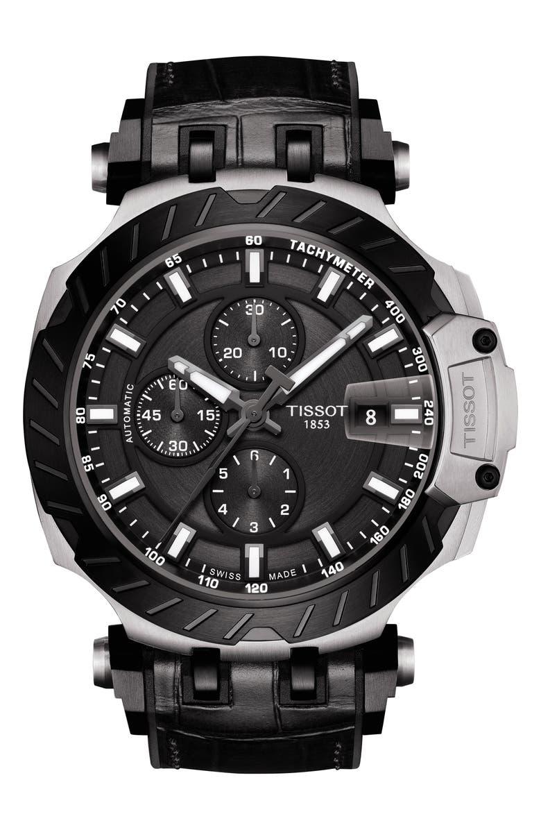 TISSOT T-Sport Chronograph Webbed Strap Watch, 48mm, Main, color, BLACK/ SILVER