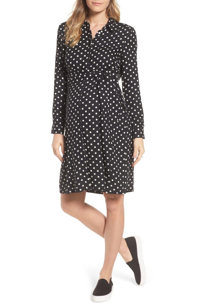 ISABELLA OLIVER Elisha Maternity Shirtdress, Main, color, BLACK/WHITE POLKA CREPE