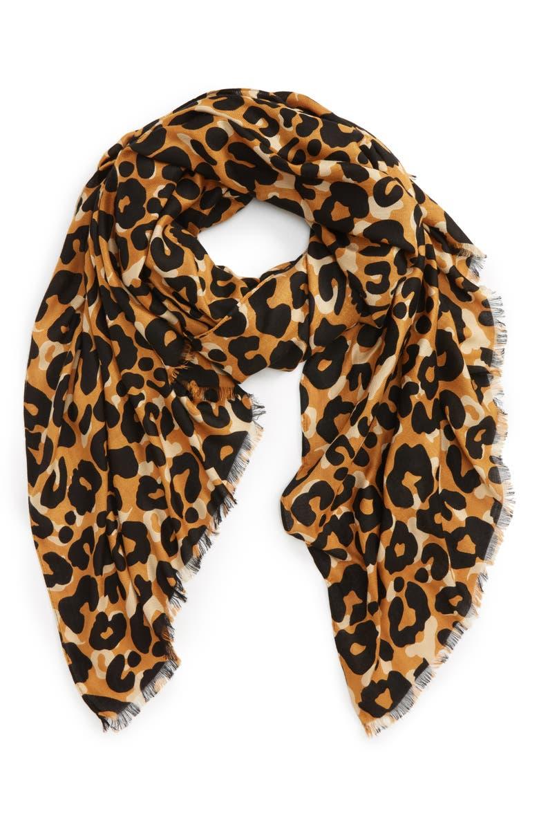 SOLE SOCIETY Cheetah Print Scarf, Main, color, 200