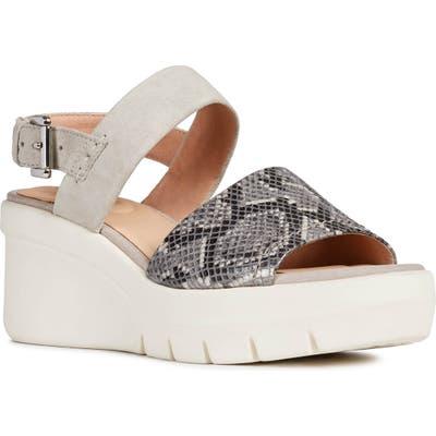 Geox Torrence Wedge Sandal, Grey