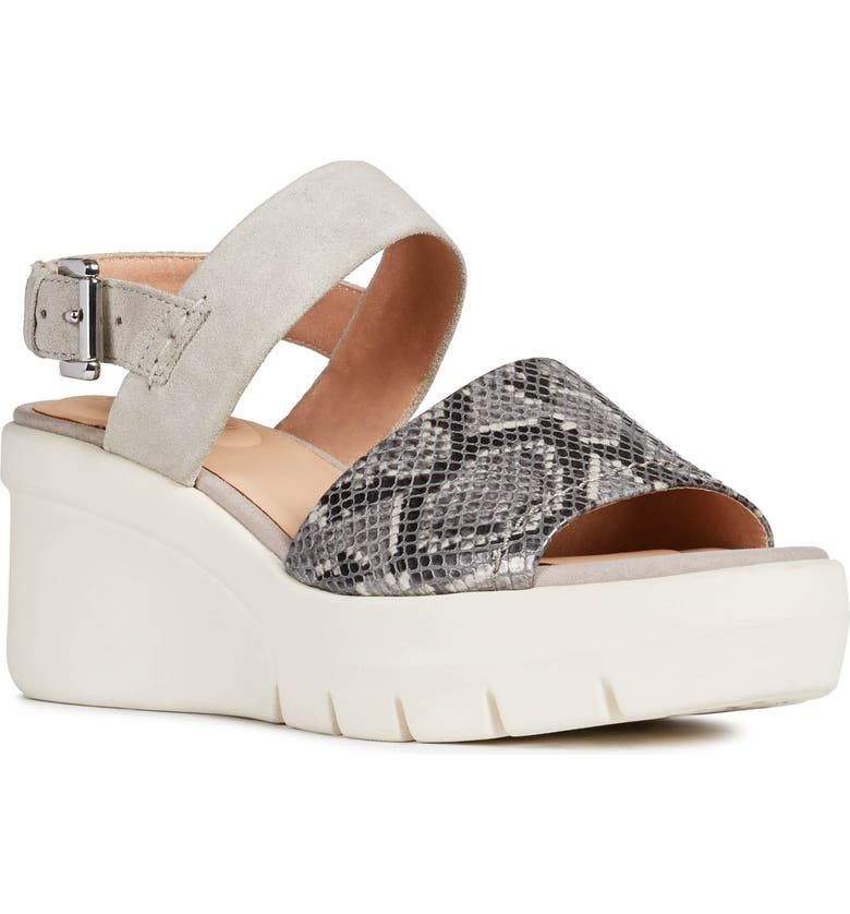 GEOX Torrence Wedge Sandal, Main, color, LIGHT GREY LEATHER