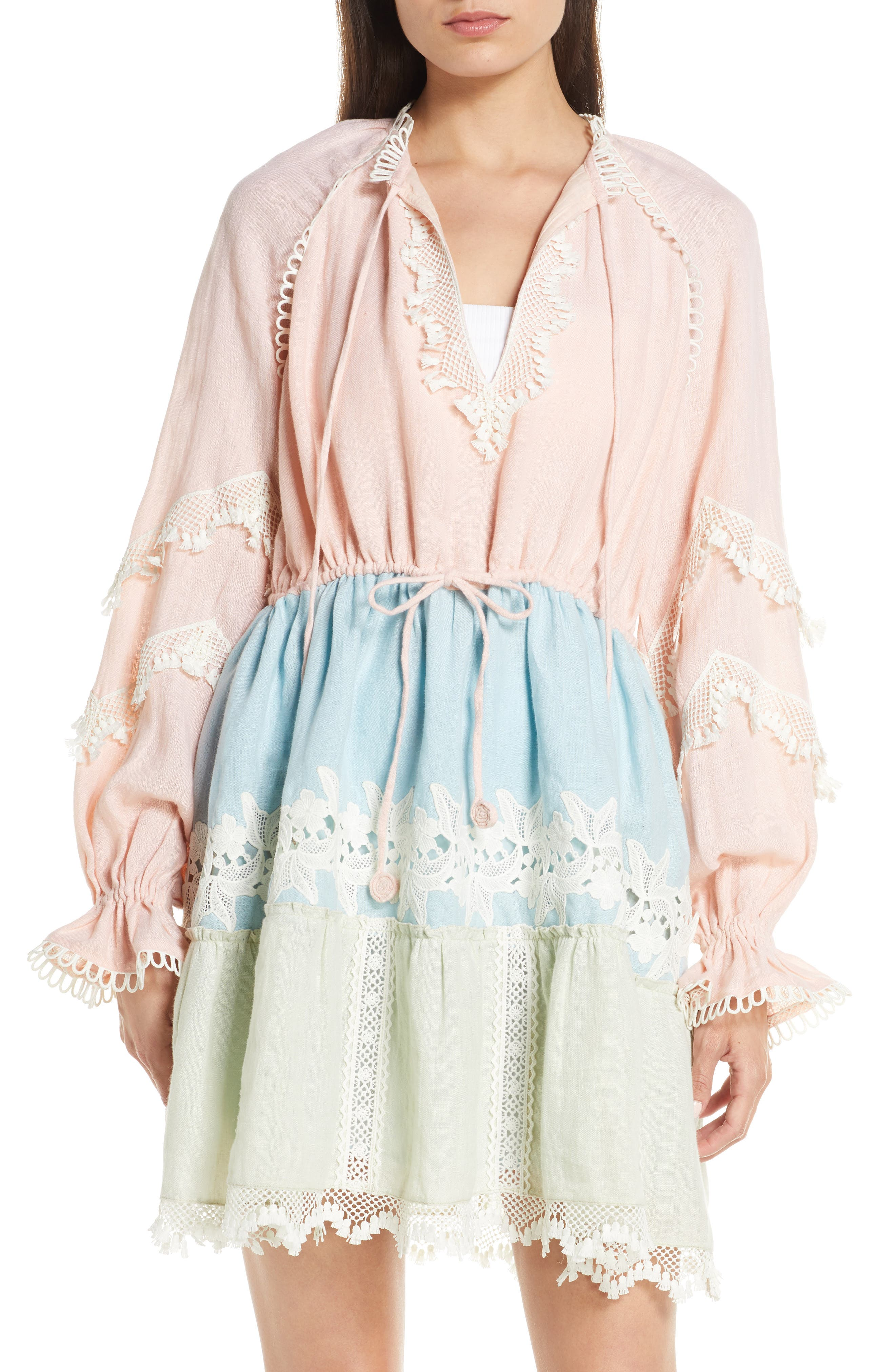 Hemant & Nandita Embroidered Tiered Cover-Up Dress, Pink
