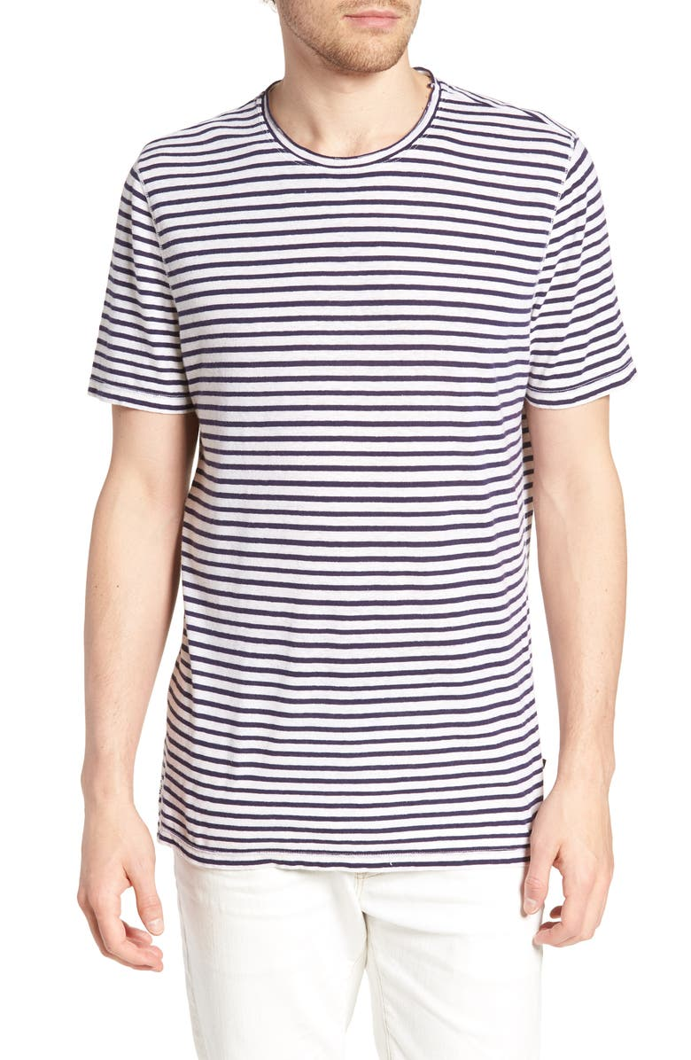 AG Theo Slim Fit Striped Cotton & Linen T-Shirt, Main, color, NATURAL/ NAVY