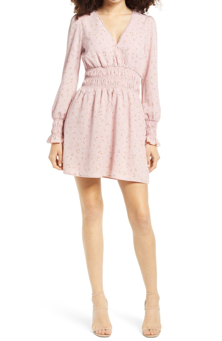 WAYF Delancy Smocked Waist Long Sleeve Minidress, Main, color, PINK PUFF DAISY DITSY