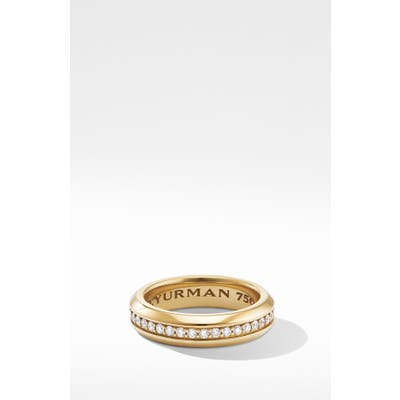 David Yurman Streamline Band Ring In 18K Yellow Gold With Diamonds