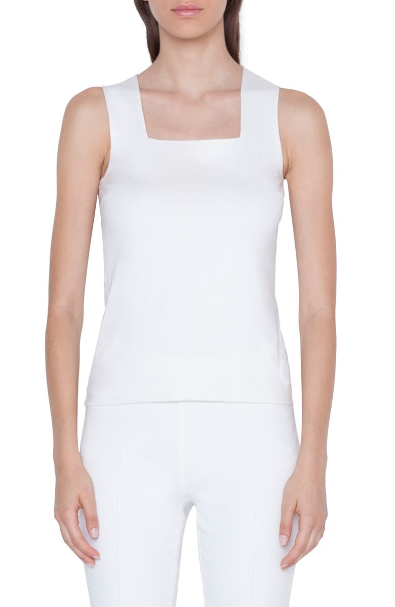 AKRIS PUNTO Square Neck Jersey Tank, Main, color, CREMA
