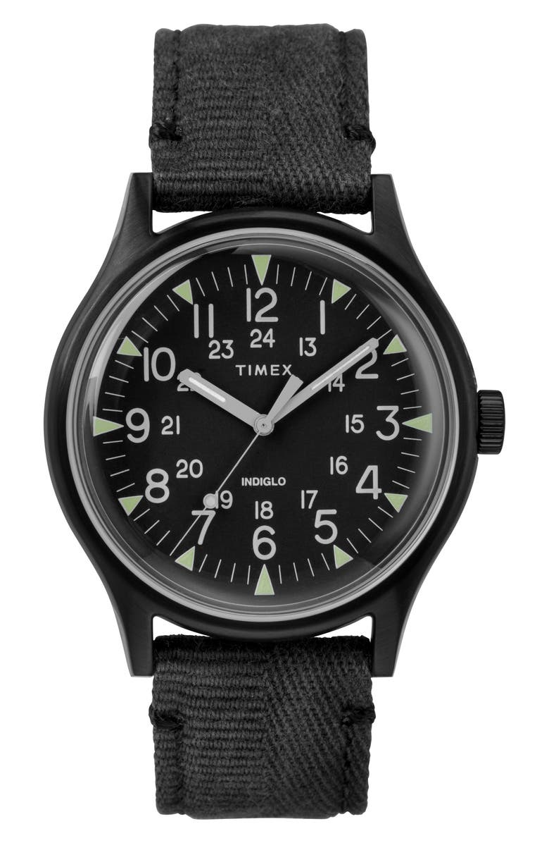 TIMEX<SUP>®</SUP> MK1 Canvas Strap Watch, Main, color, BLACK