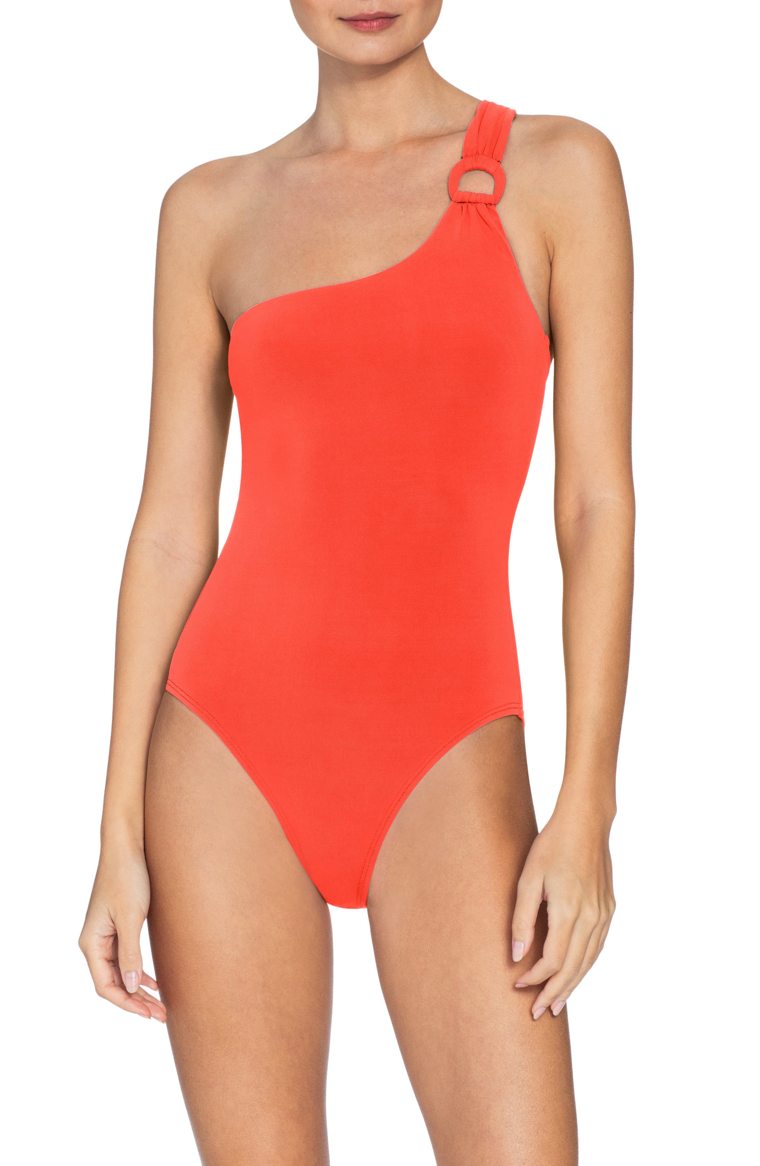 Robin Piccone Kate One-Shoulder One-Piece Swimsuit, Orange