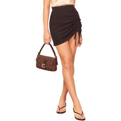 Reformation Ines Side Ruched Miniskirt, Black