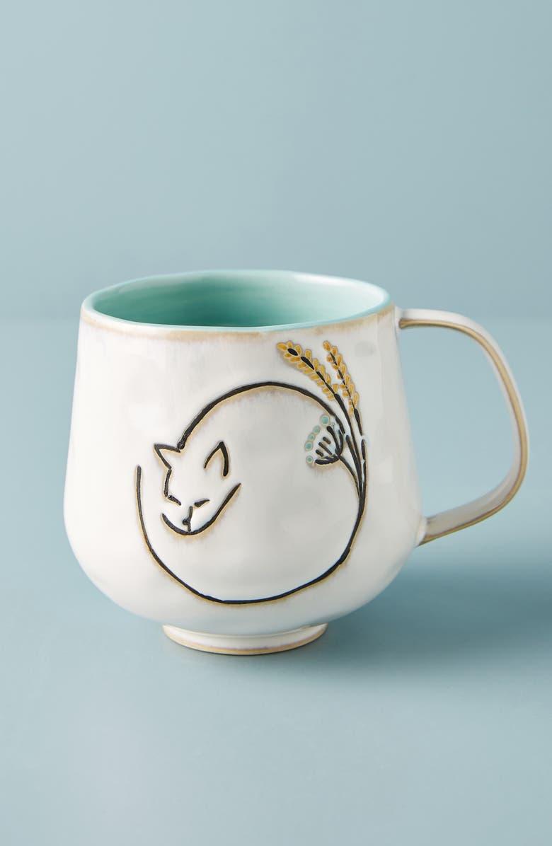 ANTHROPOLOGIE Amos Cat Mug, Main, color, WHITE