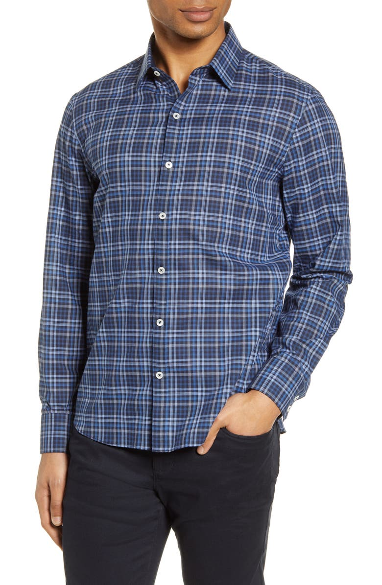 ZACHARY PRELL Plaid Button-Up Shirt, Main, color, NAVY