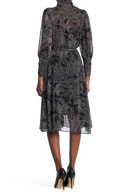 Image of Calvin Klein Ruffle Mock Neck Paisley Printed Dress