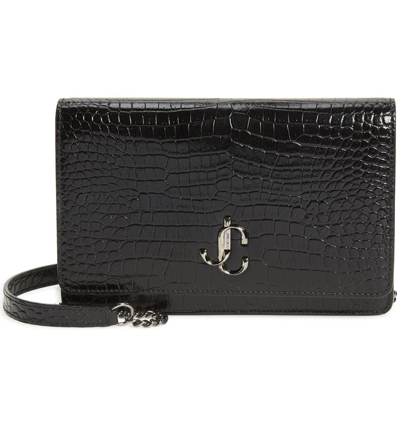 JIMMY CHOO Palace Croc Embossed Leather Clutch, Main, color, BLACK