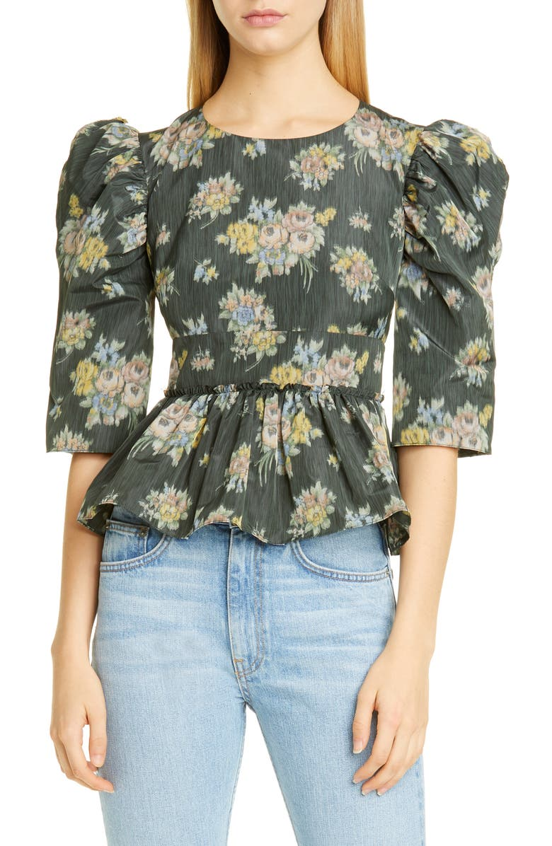 BROCK COLLECTION Floral Print Puff Sleeve Peplum Top, Main, color, BLACK