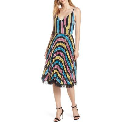 Forest Lily Stripe Wrap Dress, Black