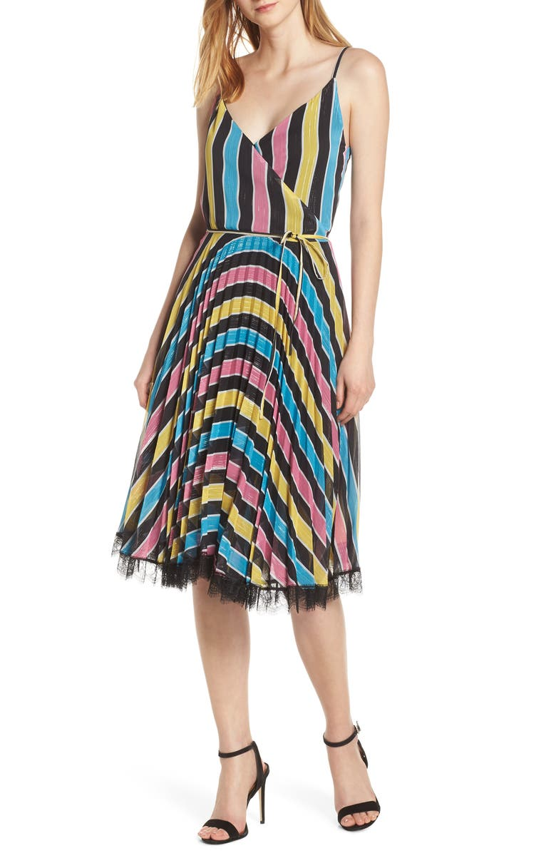 FOREST LILY Stripe Wrap Dress, Main, color, MULTI-STRIPE