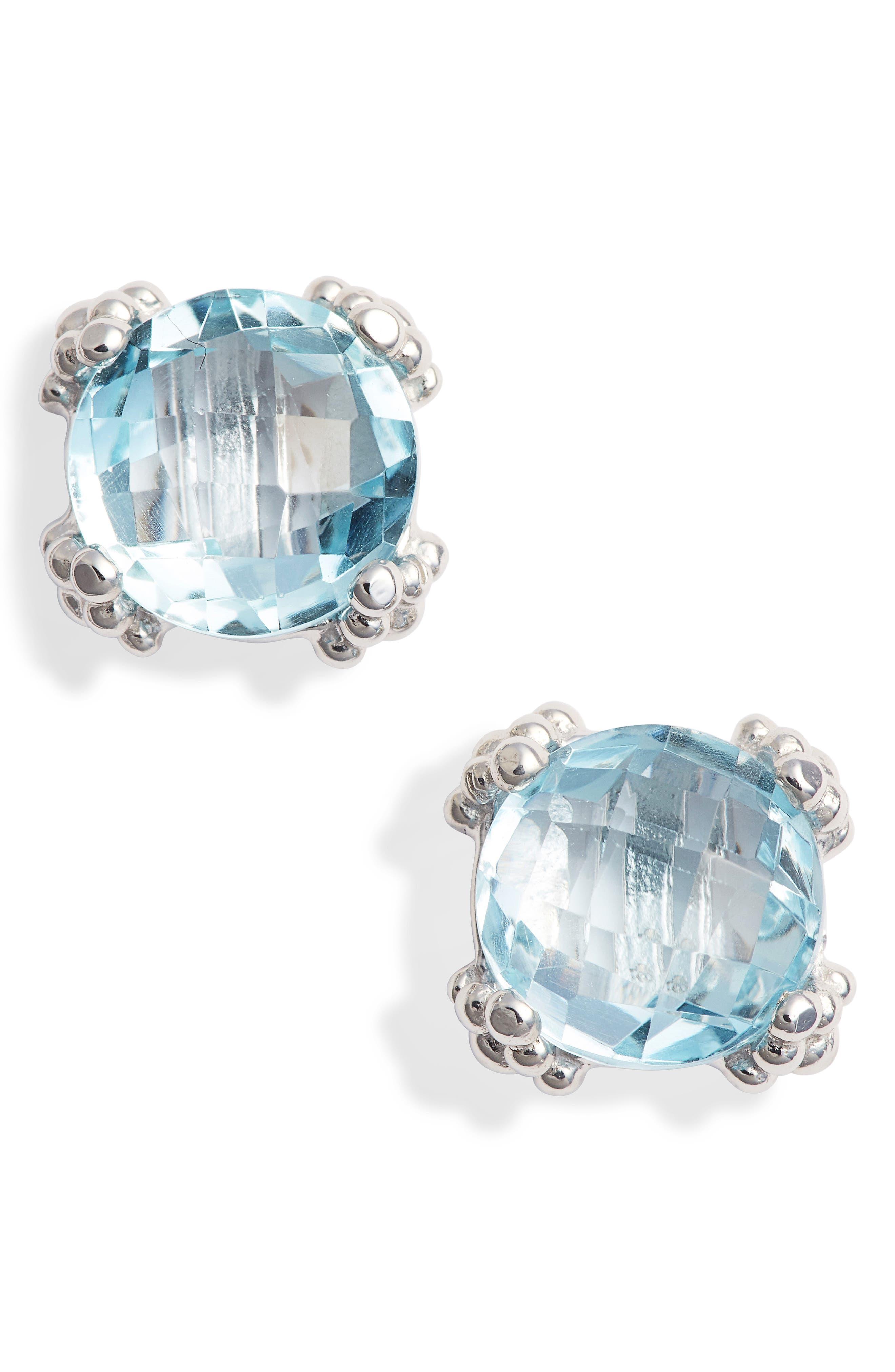 Small Cluster Topaz Stud Earrings