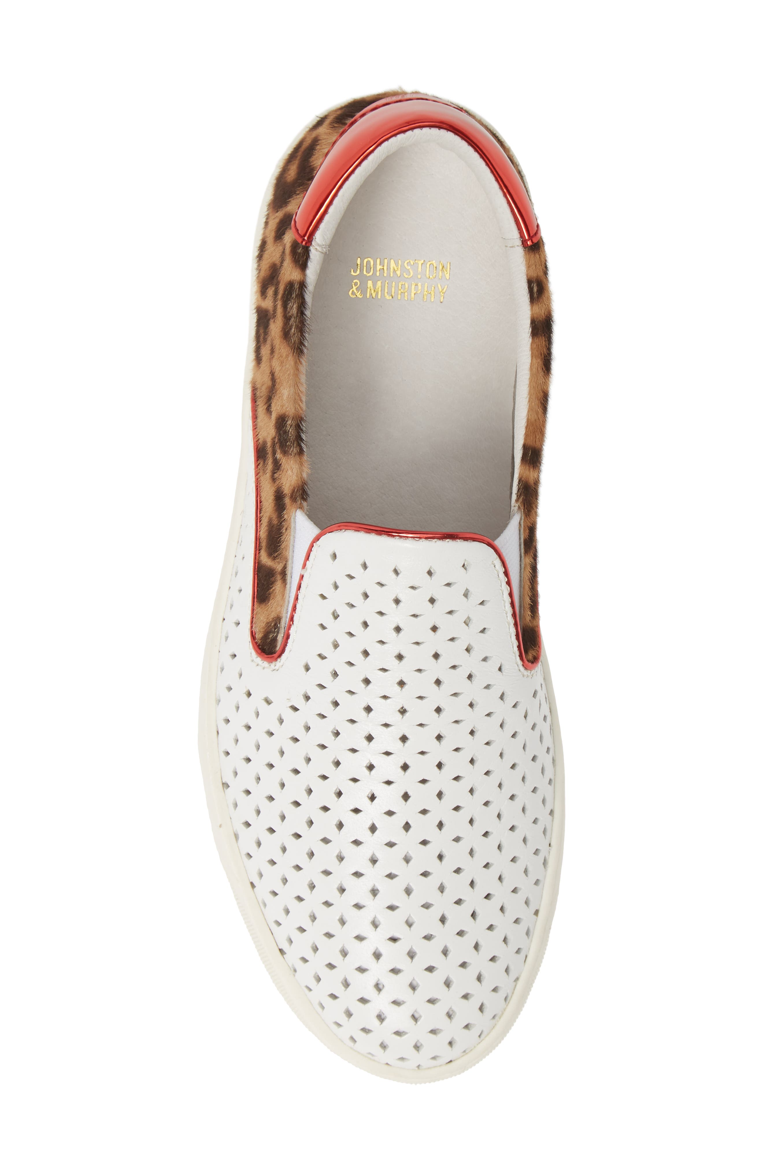 ,                             Elaine Perforated Genuine Calf Hair Slip-On Sneaker,                             Alternate thumbnail 5, color,                             WHITE LEATHER/ PRINT CALF HAIR