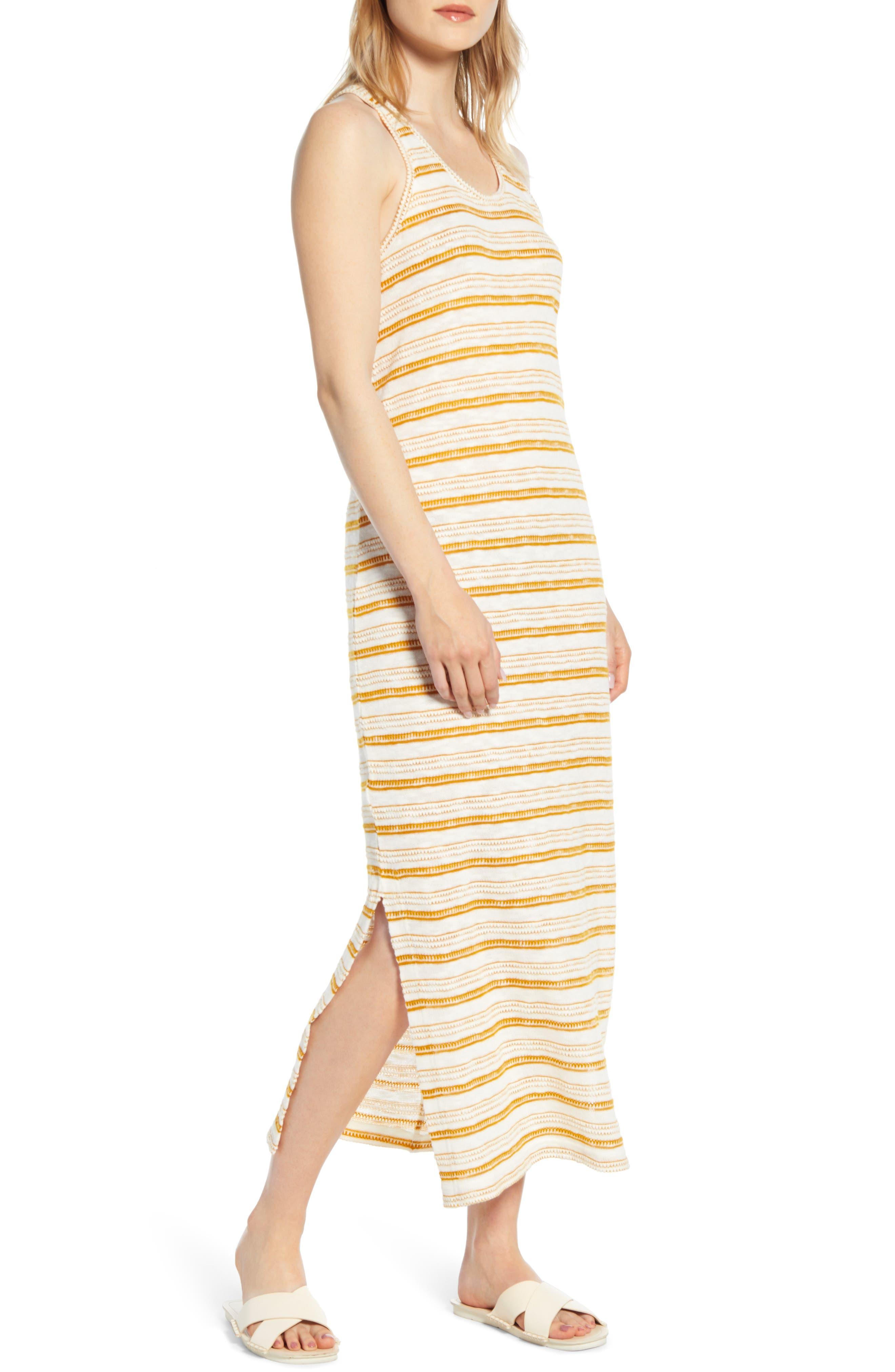 Lou & Grey Crochet Stripe Midi Dress, White