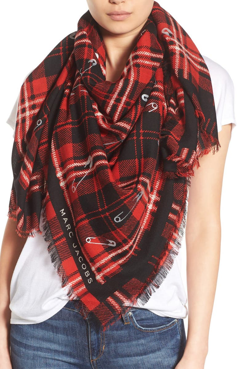 MARC JACOBS Plaid Wool Scarf, Main, color, 600