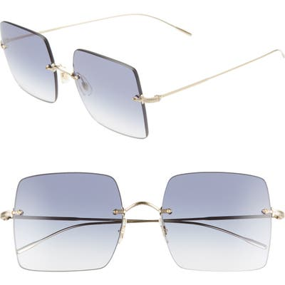 Oliver Peoples Oishe 57Mm Gradient Rimless Square Sunglasses - Gold/ Aegean Gradient