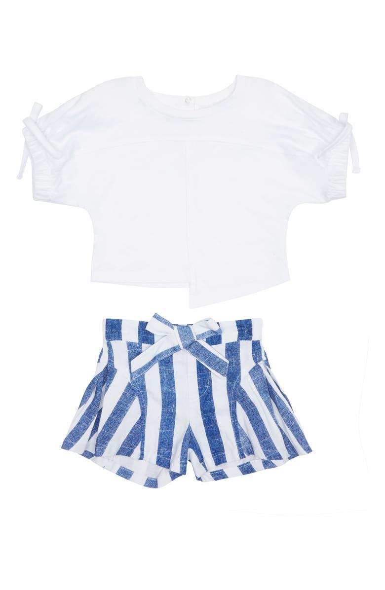 HABITUAL Kenna Shirt & Stripe Shorts Set, Main, color, WHITE