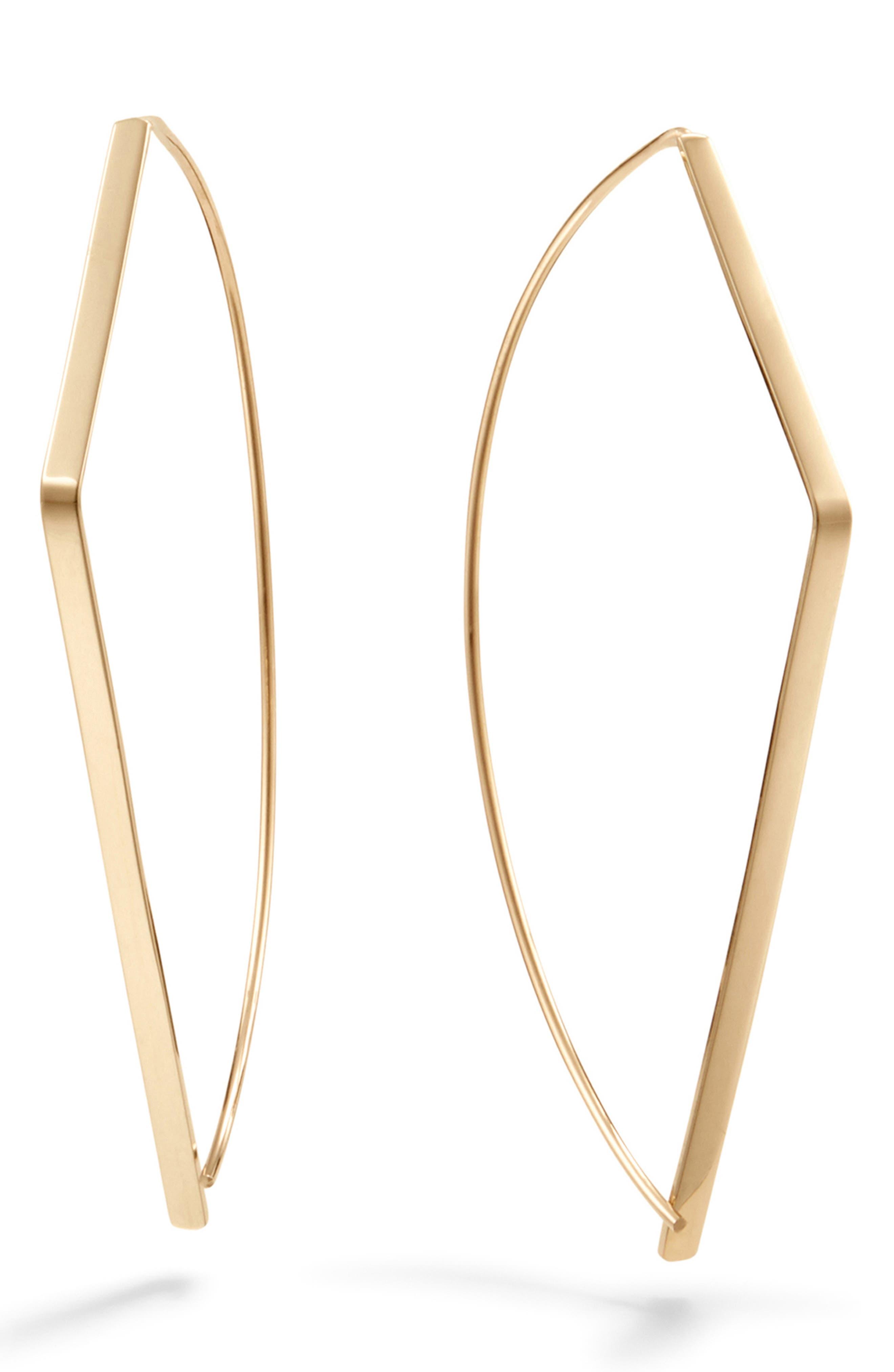 Angled Upside Down Hoop Earrings