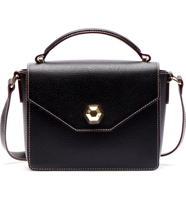 FRANCES VALENTINE Mini Midge Leather Satchel, Main, color, BLACK