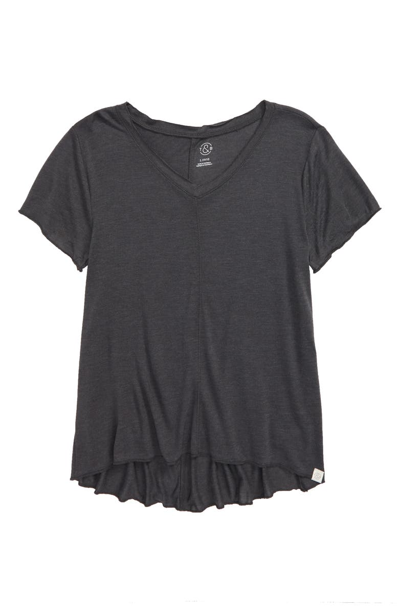 TREASURE & BOND Easy Swing Tee, Main, color, GREY CHARCOAL HEATHER