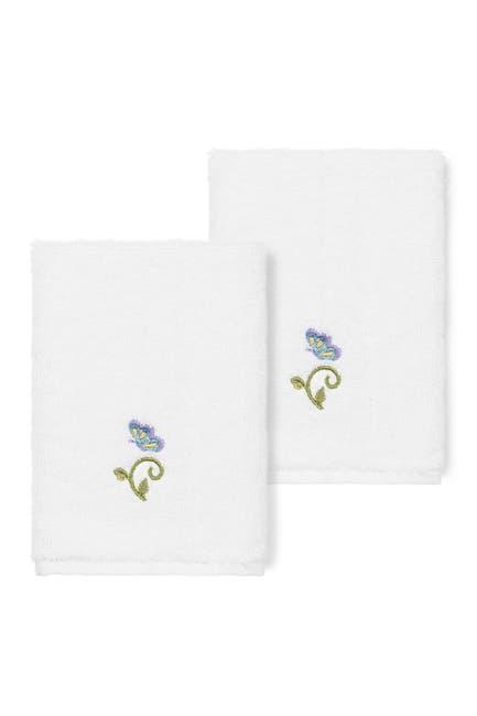 Image of LINUM HOME White Rebecca Embellished Washcloth - Set of 2