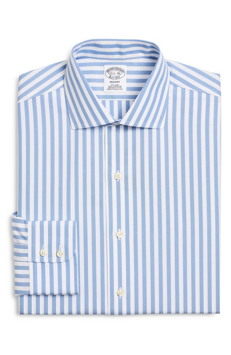 BROOKS BROTHERS Regular Fit Stripe Dress Shirt, Main, color, VISTA BLUE