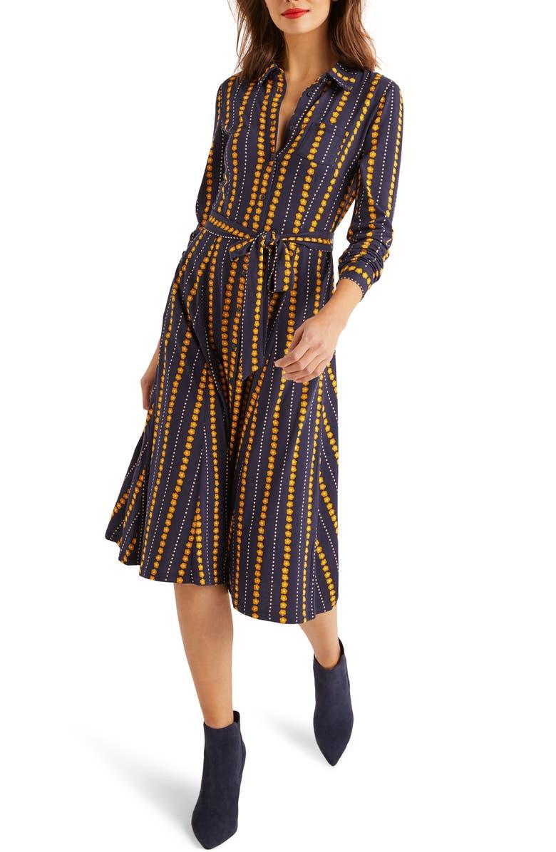 BODEN Susannah Long Sleeve Jersey Shirtdress, Main, color, NAVY DAISY RIBBON