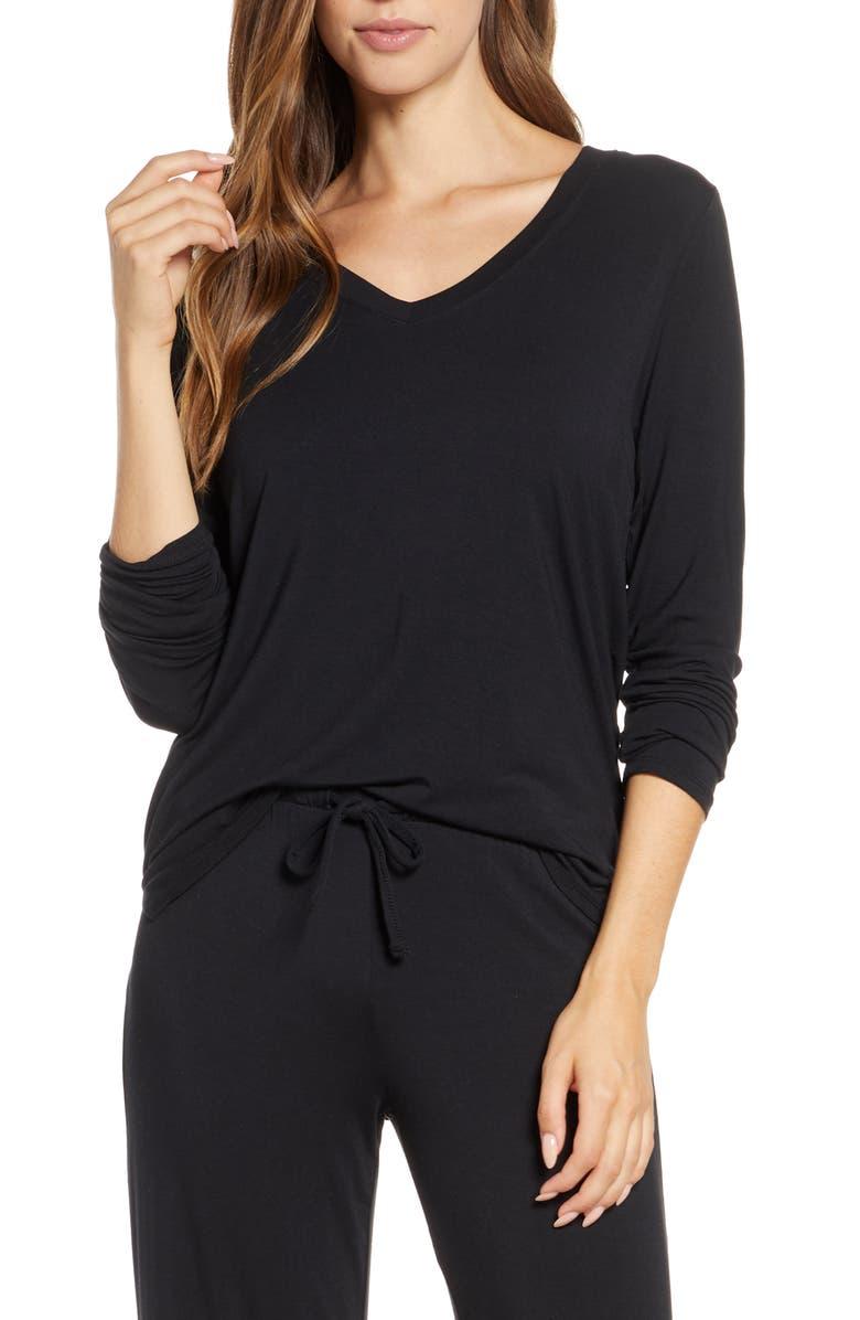 NORDSTROM Moonlight V-Neck Long Sleeve Pajama Top, Main, color, BLACK