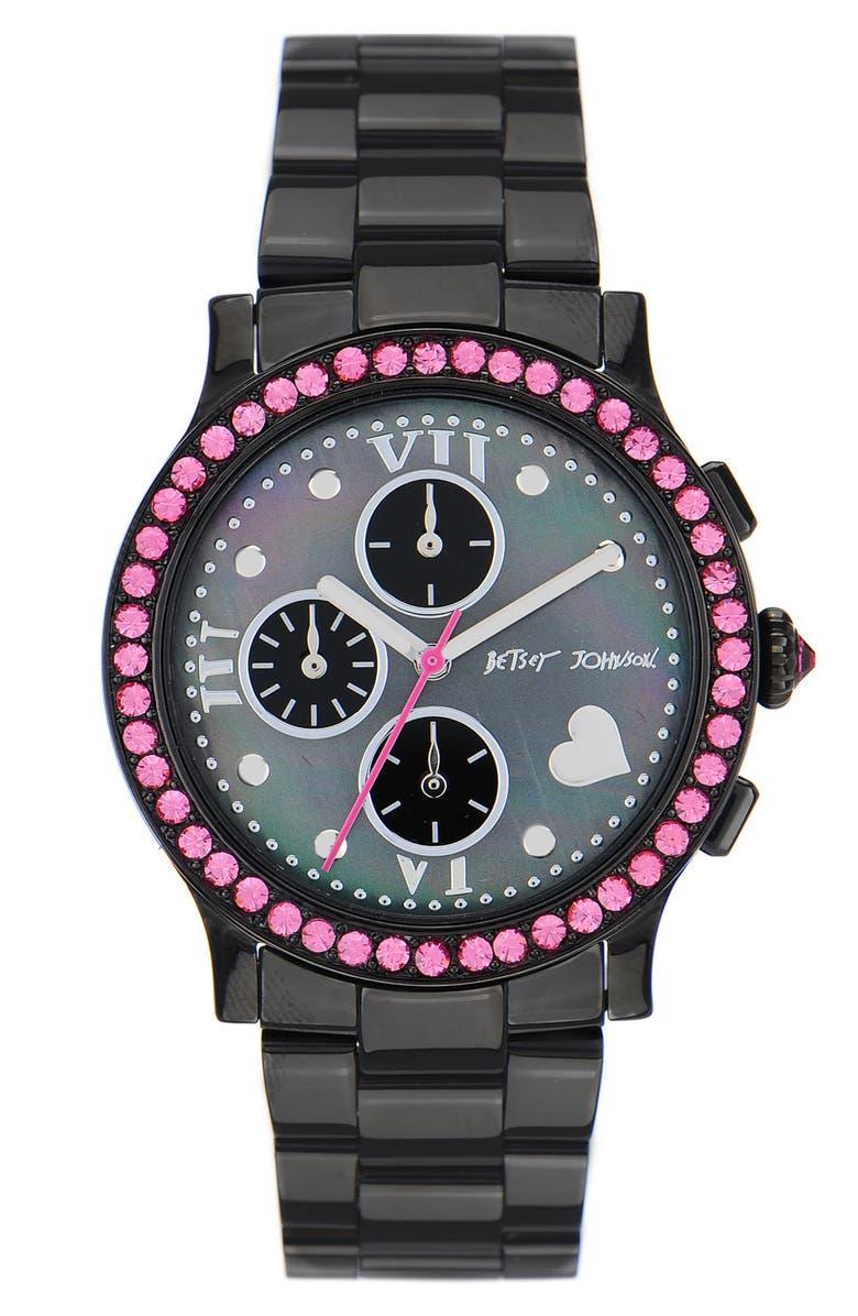 BETSEY JOHNSON 'Bling Bling Time' Bracelet Watch, Main, color, 001