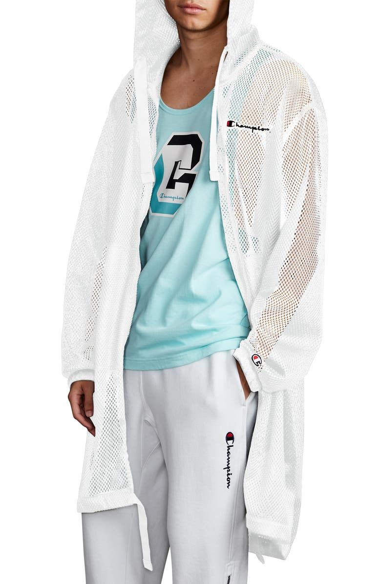 CHAMPION Hooded Mesh Trench Coat, Main, color, WHITE